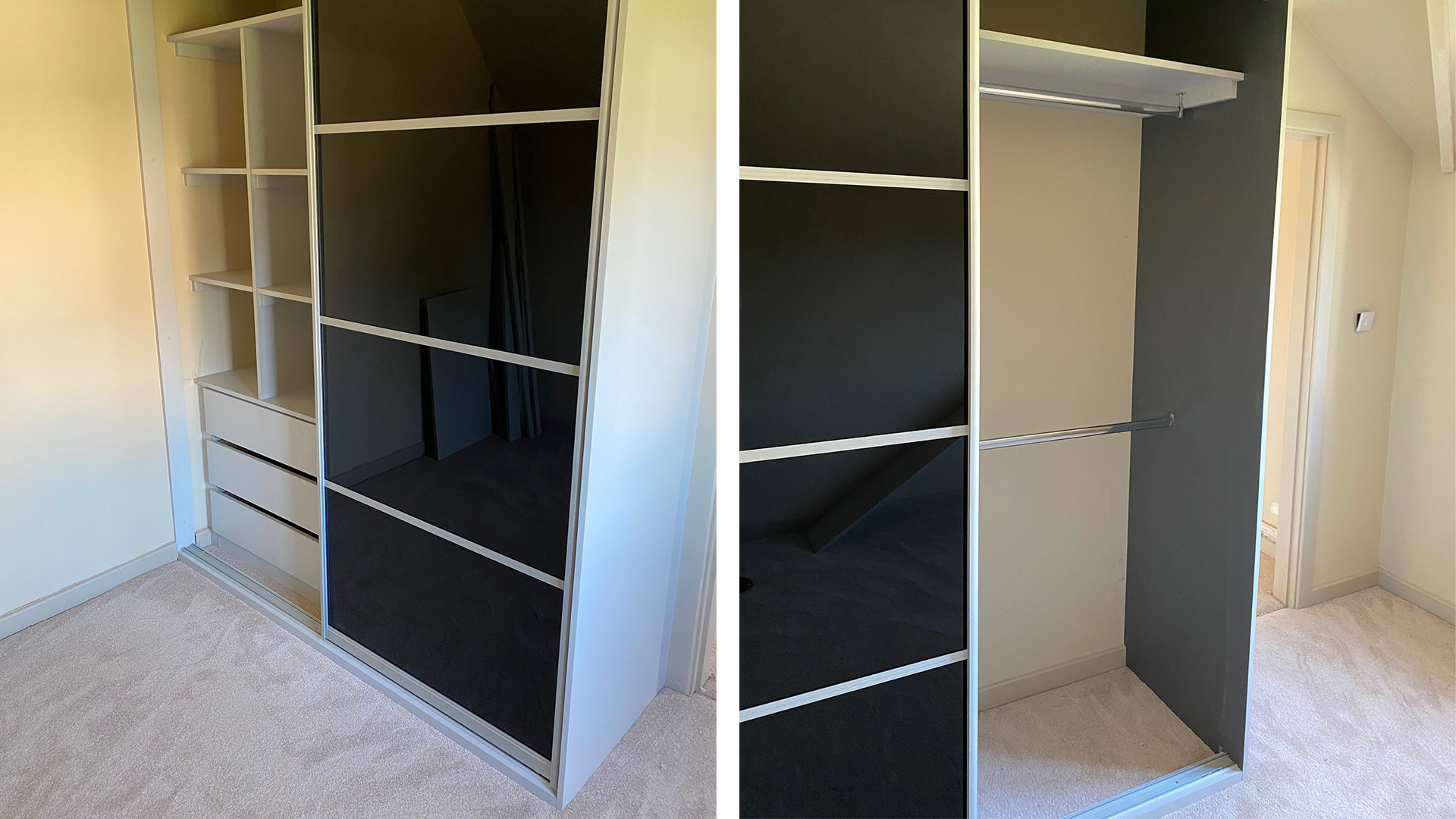 Black Gloss Sliding Bedroom Wardrobe