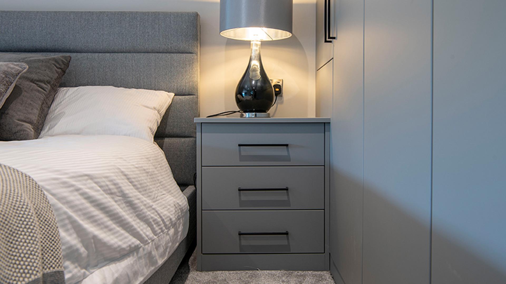 Modern Sliding Bedroom Wardrobes With Bedside Tables