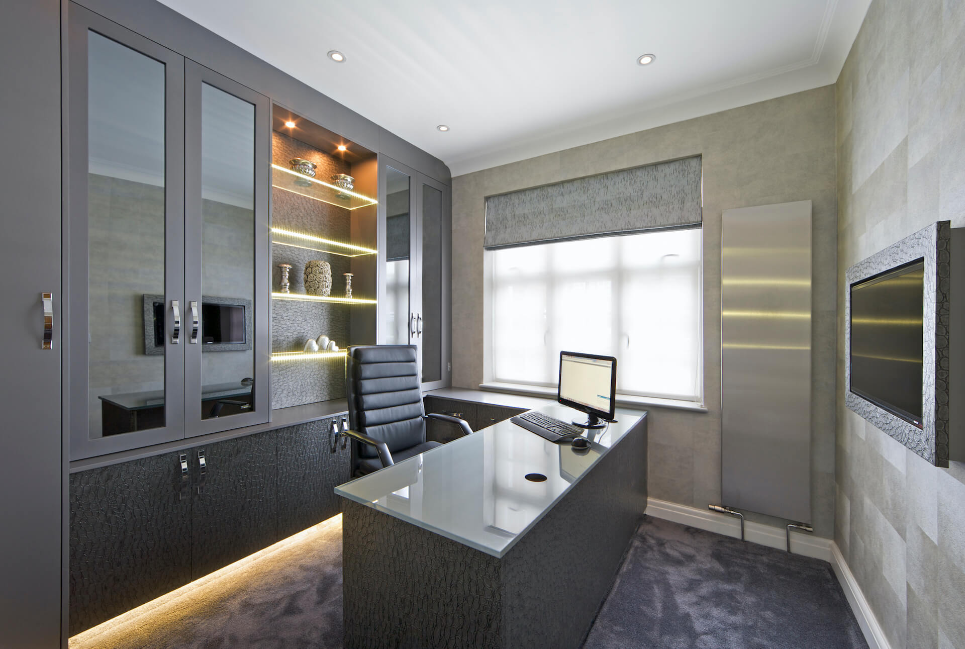 Office In A Luxury House Decorated In Tones Of Grey With Generous Use Of Grey Mock Snakeskin Leather