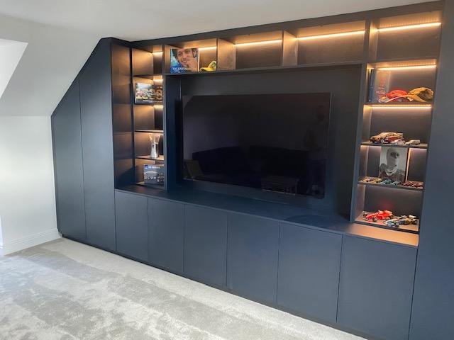 Navy Blue Lounge Media Unit With Angled Wardrobes 11