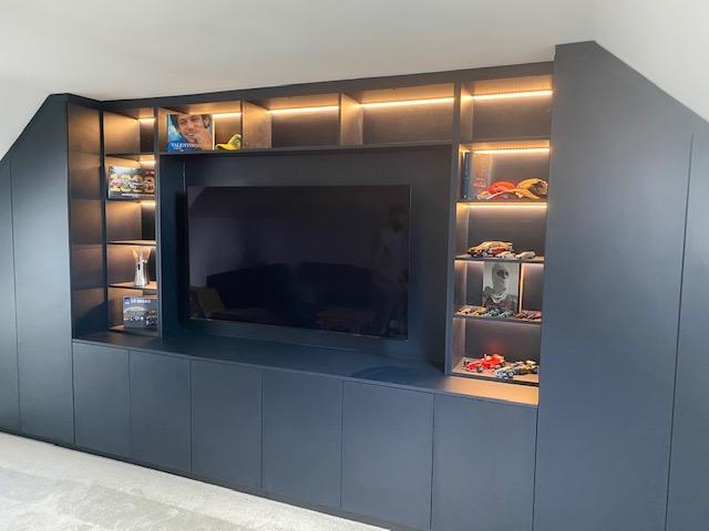 Navy Blue Lounge Media Unit With Angled Wardrobes 8
