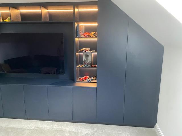Navy Blue Lounge Media Unit With Angled Wardrobes 9